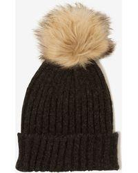 Lavish Alice - Charcoal Grey Rib Knit Faux Fur Pom Pom Beanie Hat - Lyst