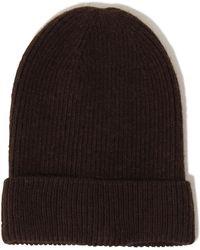 Lavish Alice - Brown Cashmere Rib Knit Beanie Hat - Lyst