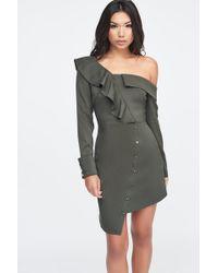deaba8ac3c6 Lavish Alice Asymmetric Off The Shoulder Dress In Khaki - Lyst