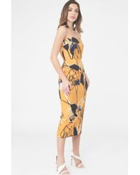 Lavish Alice - Printed Bandeau Midi Dress With Asymmetric Peplum - Lyst