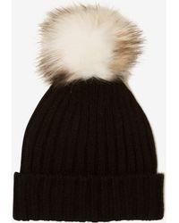 Lavish Alice - Black Rib Knit Faux Fur Pom Pom Beanie Hat - Lyst