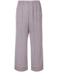 Fendi - Cropped Printed Silk-charmeuse Pants - Lyst