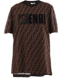 Fendi - Logo Pattern Printed T-shirt - Lyst