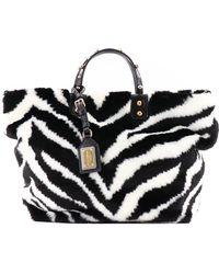 ffe0ea60c118 Lyst - Dolce   Gabbana Eco Fur Zebra Shopping Bag in Black