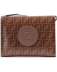 Fendi - Clutch Bag Ff Brown - Lyst