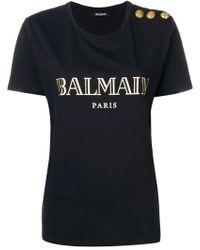 Balmain - Buttoned Logo T-shirt - Lyst