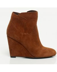 Le Chateau - Suede Wedge Bootie - Lyst