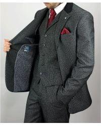 leonard silver | Dark Grey Dog Tooth 3 Piece Suit | Lyst