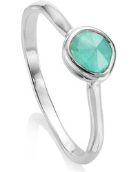 Monica Vinader - Silver Amazonite Siren Small Stacking Ring - Lyst