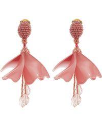 Oscar de la Renta - Mini Impatiens Flower Drop Earrings - Lyst