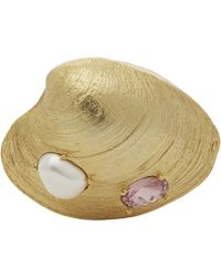 Oscar de la Renta - Gold-tone Crystal Clam Shell Brooch - Lyst