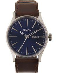 Nixon - Sentry Leather Watch - Lyst