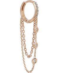 Kismet by Milka - Rose Gold And White Diamond Chain Single Hoop Earring - Lyst