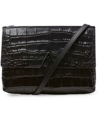 Vince - Black Stamped Croc Baby Crossbody Bag - Lyst