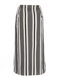 Paul Smith Black Label - Grey Tonal Stripe Skirt - Lyst