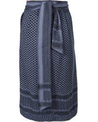 Cecilie Copenhagen - Blue Printed Cotton Tie Belt Long Skirt - Lyst