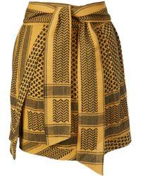 Cecilie Copenhagen - Yellow Printed Cotton Tie Belt Short Skirt - Lyst