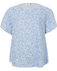 Uniqlo - Kimberly And Sarah Blue Printed Linen Short Sleeve Blouse - Lyst