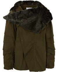Toga Pulla - Faux Fur Hooded Asymmetric Zip-up Coat - Lyst
