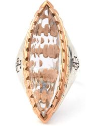 Laurent Gandini - Rose Gold Rimmed Rock Crystal Cocktail Ring - Lyst