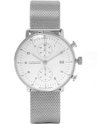 Junghans - Stainless Steel Milanese Max Bill Chronoscope Watch - Lyst