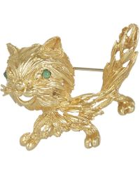 Kojis - Gold Emerald Cat Brooch - Lyst