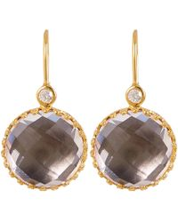 Larkspur & Hawk - Gold-washed Silver Olivia Button White Quartz Diamond Earrings - Lyst