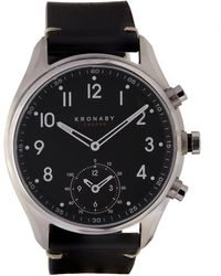 Kronaby - Apex Stainless Steel Leather Strap Watch - Lyst
