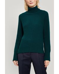 Officine Generale Amanda Roll Neck Ribbed Lambswool Sweater - Green
