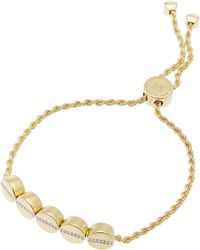 Monica Vinader - Gold-plated Linear Bead Diamond Friendship Chain Bracelet - Lyst
