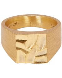 All_blues - Carved And Brushed Gold Vermeil Platform Ring - Lyst