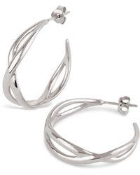 Dinny Hall - Silver Twist Small Open Hoop Earrings - Lyst