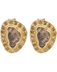 Brooke Gregson - Gold And Green Tourmaline Hex Earrings - Lyst