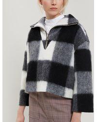 Ganni - Mckinney Check Wool-blend Half-zip Jumper - Lyst