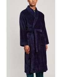 Derek Rose Triton 10 Cotton Velour Robe - Blue