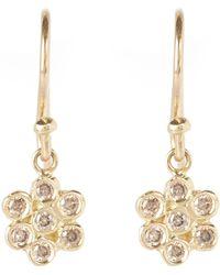 Satomi Kawakita - Gold And Brown Diamond Floral Drop Earrings - Lyst