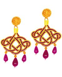 Anna E Alex - Lamé Silk Passementerie Lanterna Stone Drop Earrings - Lyst