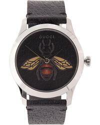 Gucci - G-timeless Leather Bee Motif Watch - Lyst