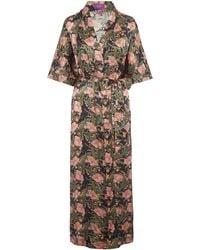 Liberty - June Silk Satin Long Kimono - Lyst