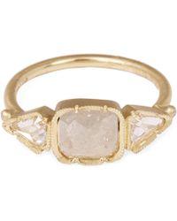 Brooke Gregson - Gold Diamond Square Diamond Ring - Lyst
