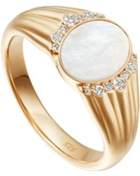 Astley Clarke - Gold Luna Mother Of Pearl Sapphire Signet Ring - Lyst