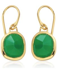 Monica Vinader - Vermeil Green Onyx Siren Wire Earrings - Lyst