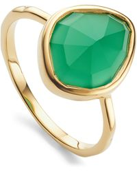 Monica Vinader - Gold Vermeil Green Onyx Siren Small Nugget Stacking Ring - Lyst