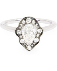 Anna Sheffield - Rhodium-plated White Gold Diamond Camellia Petal Ring - Lyst