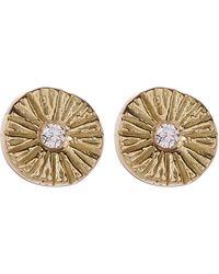 Satomi Kawakita - White Diamond Medium Sunburst Stud Earrings - Lyst