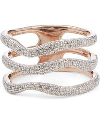 Monica Vinader Riva Diamond Wave Triple Band Ring - Multicolour