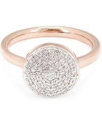 Monica Vinader - Rose Gold Vermeil Fiji Large Diamond Button Stacking Ring - Lyst