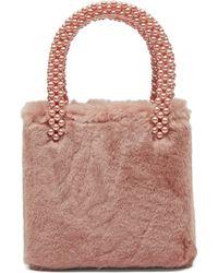 Shrimps - Una Faux Fur And Pearl Bag - Lyst