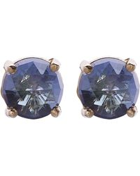Suzanne Kalan - 14ct Yellow Gold English Blue Topaz Stud Earrings - Lyst