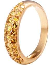 Kojis - Gold Pave Yellow Diamond Ring - Lyst